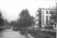 Аллея в Южно-Сахалинске. Справа улица Сталина и здание