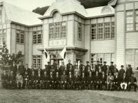 Принц-регент Хирохито у мэрии города Хонто.