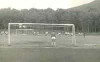 Футбольные ворота на стадионе Космос в городском парке Южно-Сахалинска