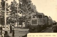 Мотовоз ТУ2м с вагоном ПВ40 и старыми деревянными вагонами. Южно-Сахалинская ДЖД