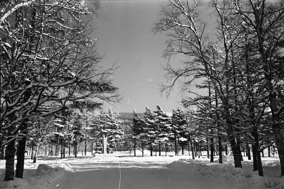 Пересечение улицы Горького и Коммунистического проспекта. Обелиск Дружба на фоне зимы.