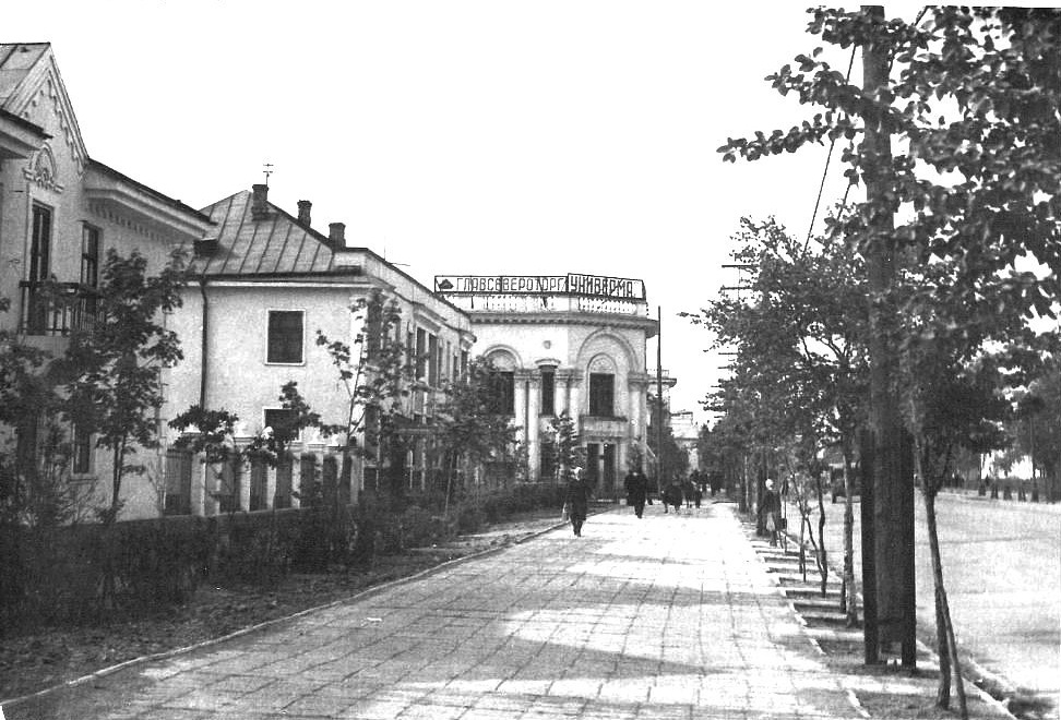 Южно-Сахалинск, справа ул. Ленина. В центре универмаг