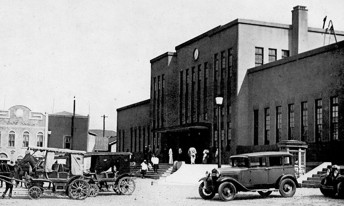 Железнодорожный вокзал в Маока (ныне г. Холмск).