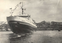 Первый заход парома 'Сахалин-1' в порт Холмск 12 апреля 1973 год.