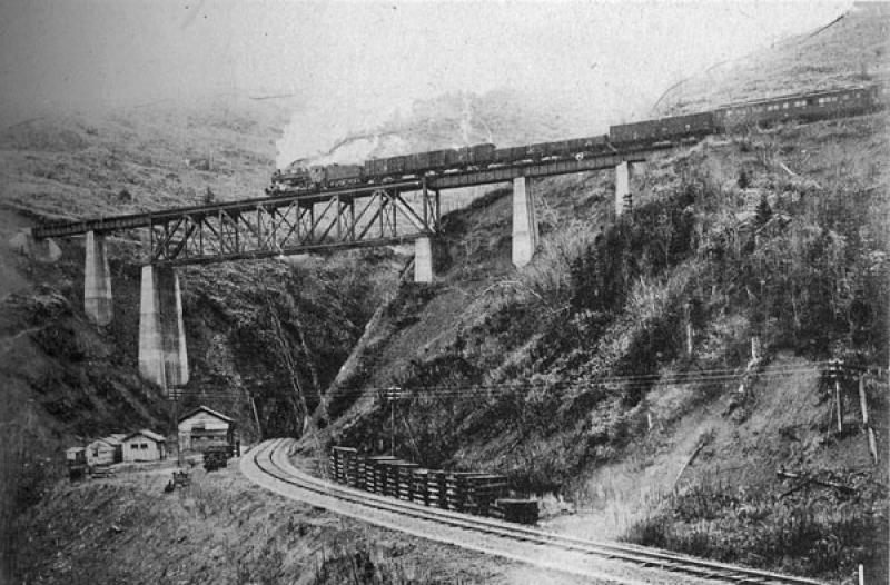 Железнодорожный мост и тоннель на железной дороге Тоёхара – Маока.