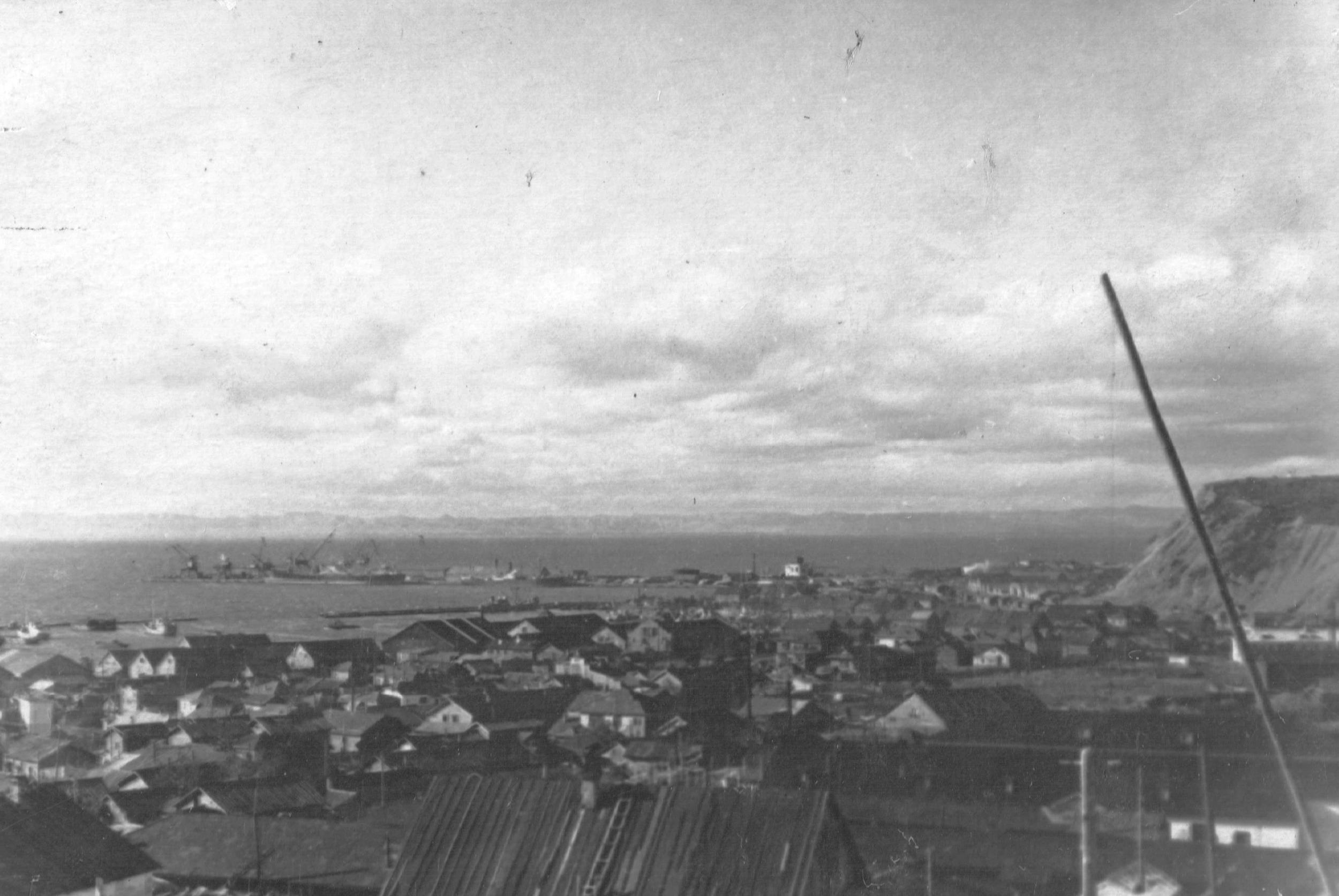 Вид на город и порт Корсаков