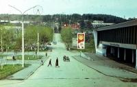 Дом культуры 'Океан', на заднем плане виднеется городской парк с колесом обозрения