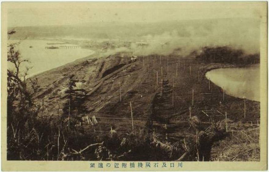 Панорамный вид на угольный причал Эсутору