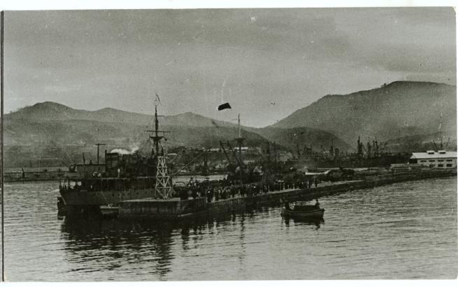 Порт в городе Маока. Период освобождения Южного Сахалина и Курильских островов в августе-сентябре 1945 г.