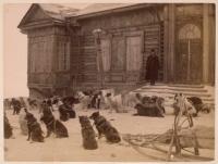 Собачьи упряжки у почтово-телеграфной конторы. Александровский пост.