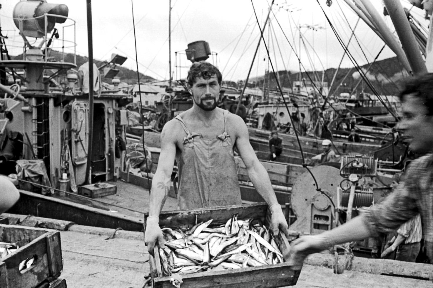 Сотрудники рыбокомбината 'Островной' в порту Малокурильское