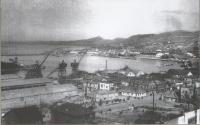 Панорама города Холмск. Пересечение улиц Советской и Морской.
