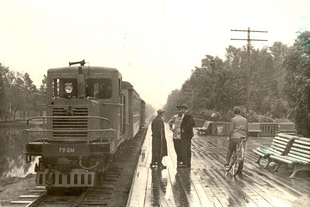 Мотовоз ТУ2м у станции Комсомольская в городском парке г. Южно-Сахалинска