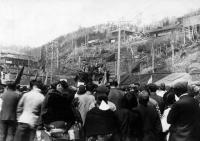 Первомайский митинг на шахте Каваками (ныне п. Синегорск)