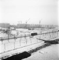Строительство 11 микрорайона в г. Южно-Сахалинск. Вид с проспекта Мира