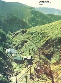 Вид с железнодорожного (Чертового) моста. Железная дорога Южно-Сахалинск-Холмск
