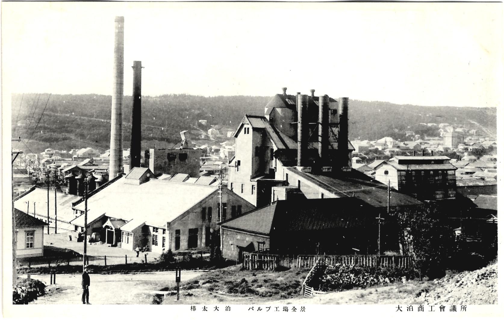 Вид на целлюлозно-бумажную фабрику г. Одомари