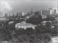 Панорама города Холмска. По центру здание техникума.