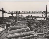 Общий вид территории лесного цеха Поронайского ЦБЗ. На переднем плане - штабеля древесины, слева - на железнодорожных путях стоит вагонетка с лесом, на заднем плане два подъемных крана, видны здания цехов.