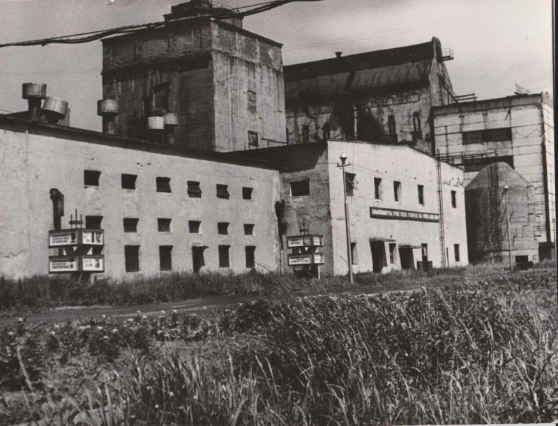 Поронайский ЦБЗ. Вид на цеха. На фоне травы изображены разноэтажные здания заводских цехов. На переднем плане - две опоры, на каждой закреплены по четыре стенда с надписями. Слева - здание дрожжевого цеха, на крыше видны вытяжные трубы, справа - кислотно- варочный и сульфитный цеха, на крыше одного из зданий - горизонтальная мачта.