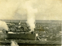 Вид сверху на город Поронайск. Снимок сделан с крыши ТЭЦ бумзавода