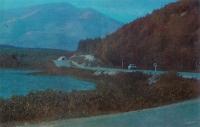 Дорога Охотское - Южно-Сахалинск, слева озеро Тунайча