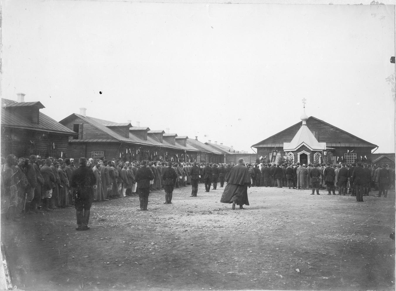 Молебен на тюремном дворе. Период с 1875 по 1906 год. Коллекция фотографий Краснова Ивана Николаевича