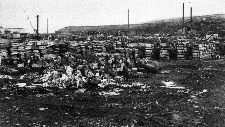 Подготовленные к отгрузке штабеля ящиков с японскими боеприпасами на пирсе ВМБ Катаока (совр. Байково) острова Шумшу. Советскими войсками на острове было захвачено большое количество японских складов с амуницией, вооружением и боеприпасами. Часть трофеев была вывезена на Камчатку и материк, другая часть уничтожена на месте путем подрыва или затопления